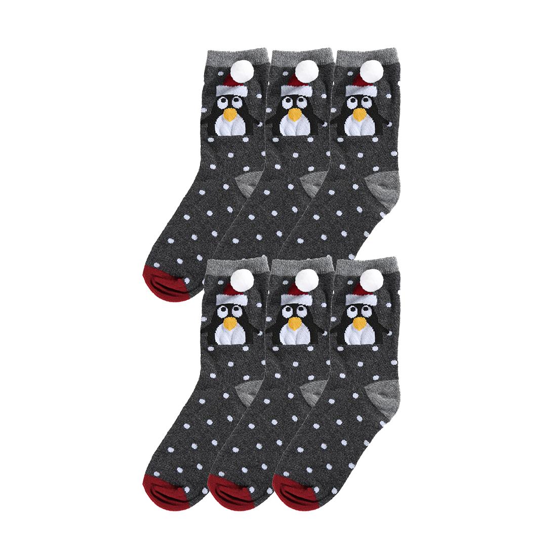 Christmas Kids\' Holiday Socks Cotton Baby Gift Cartoon 6 Pack Gray ...