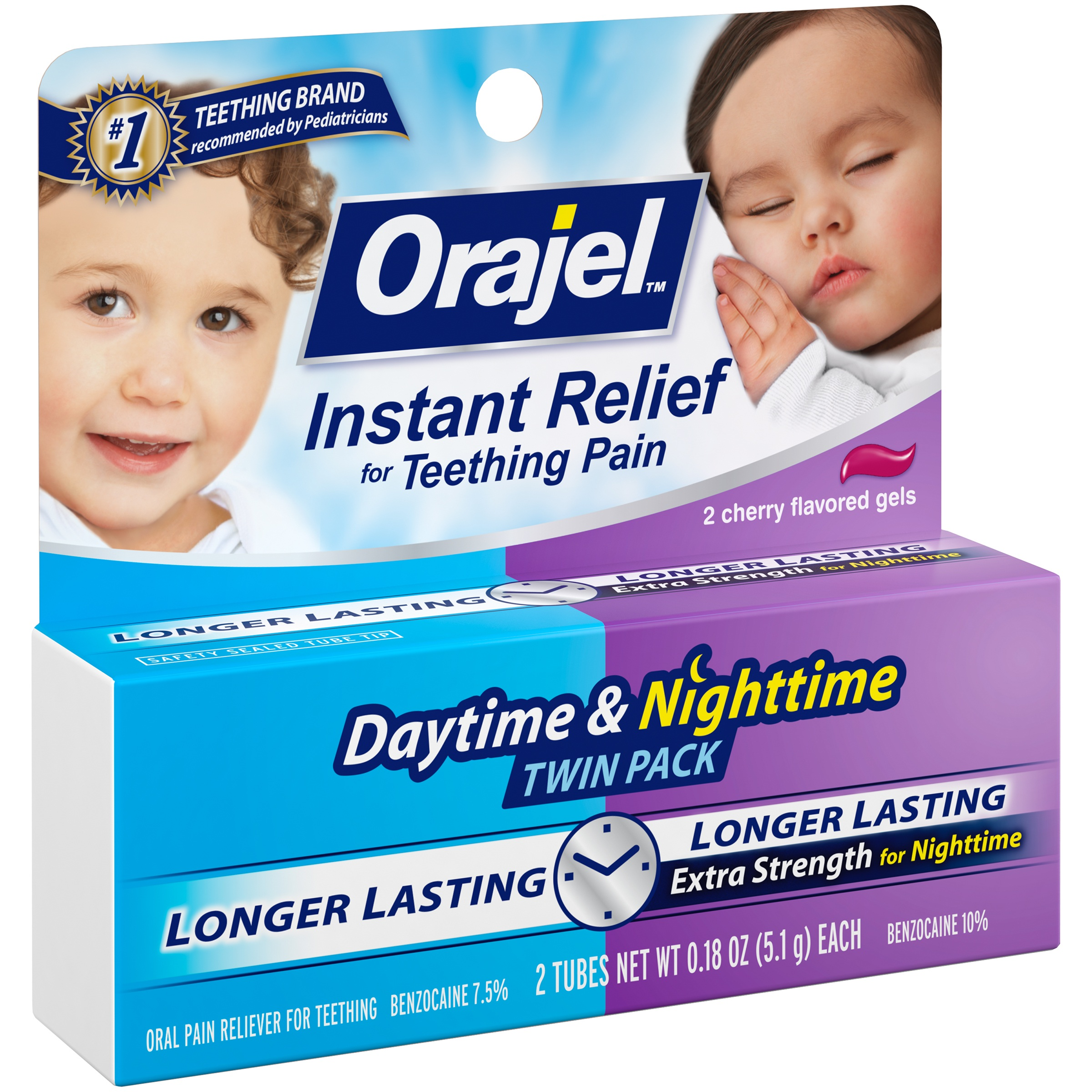 Orajel™ Instant Relief for Teething Pain Daytime & Nighttime Twin Pack Cherry Flavored Gels Oral Pain Reliever