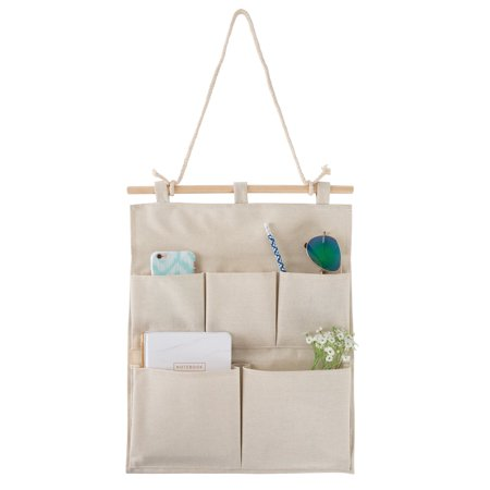 Hanging Wall Organizer- 5 Pocket Fabric Space Saving Storage Hanger for Jewelry, Cosmetics, Keys, Toiletries, Mail, Bills and More by Lavish Home (Bill Pocket Organizer)