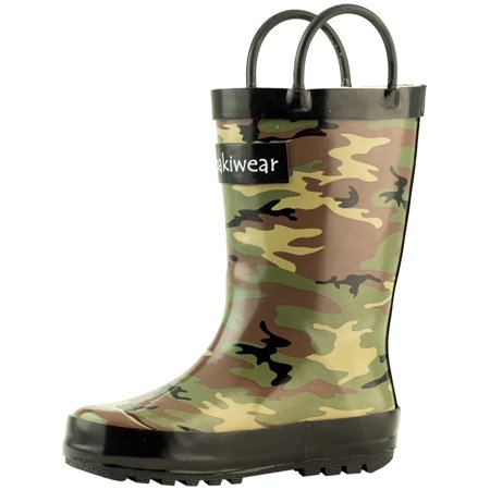 Camo Rubber Boots (Oakiwear Kids Rain Boots For Boys Girls Toddlers Children - Army)