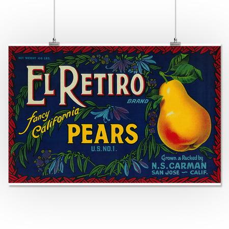 El Retiro Pear Crate - Vintage Label (16x24 Giclee Gallery Print ...