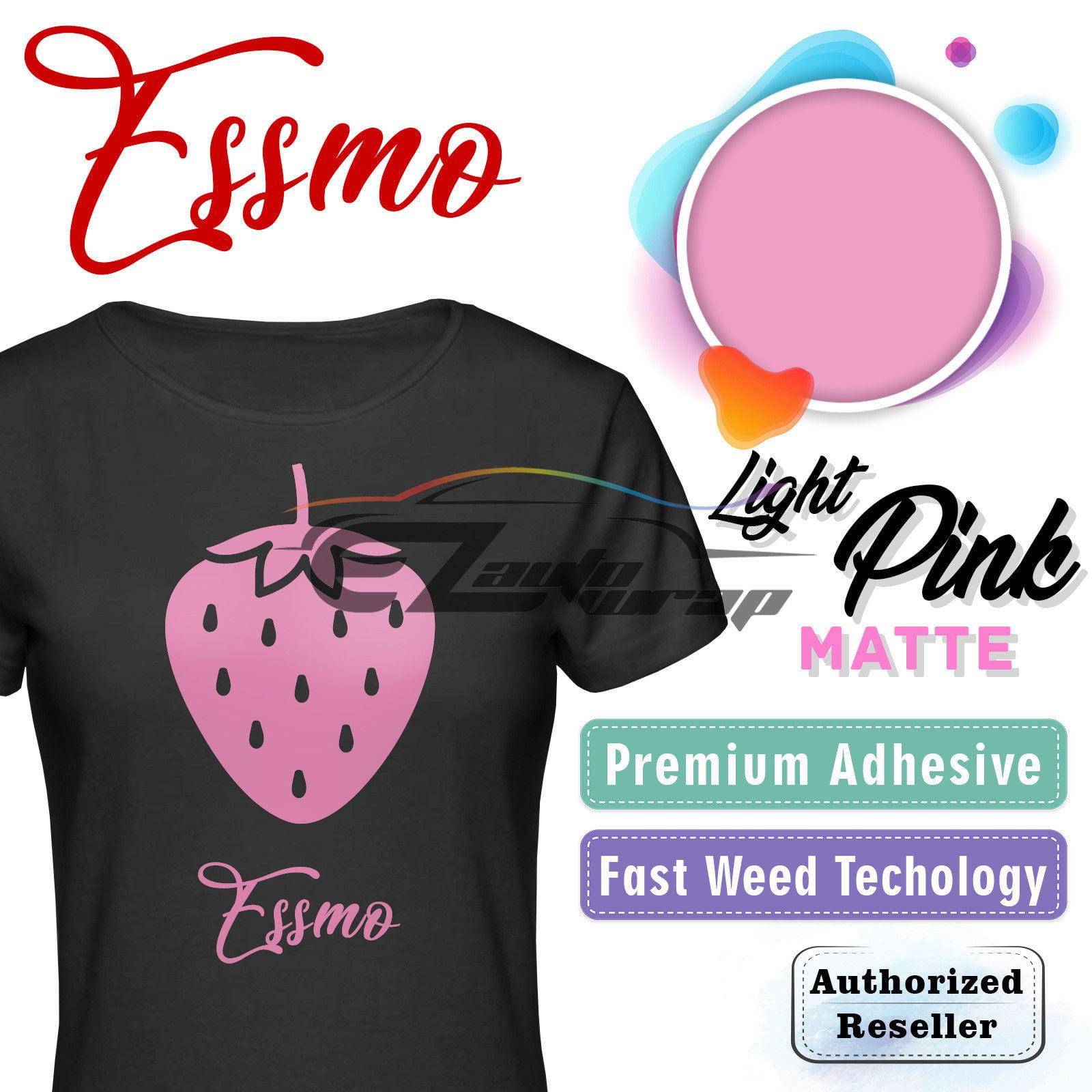 "ESSMO Light Pink Matte Solid Heat Transfer Vinyl HTV Sheet T-Shirt 20"" Wide Iron On Heat Press 20""x12"""