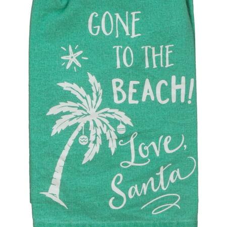 - Gone to the Beach Love Santa Green Flour Sack 27 Inch Kitchen Dish Towel