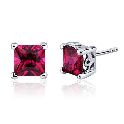 Oravo 3.00 Carats Ruby Princess Cut Scroll Design Stud Earrings in Sterling Silver