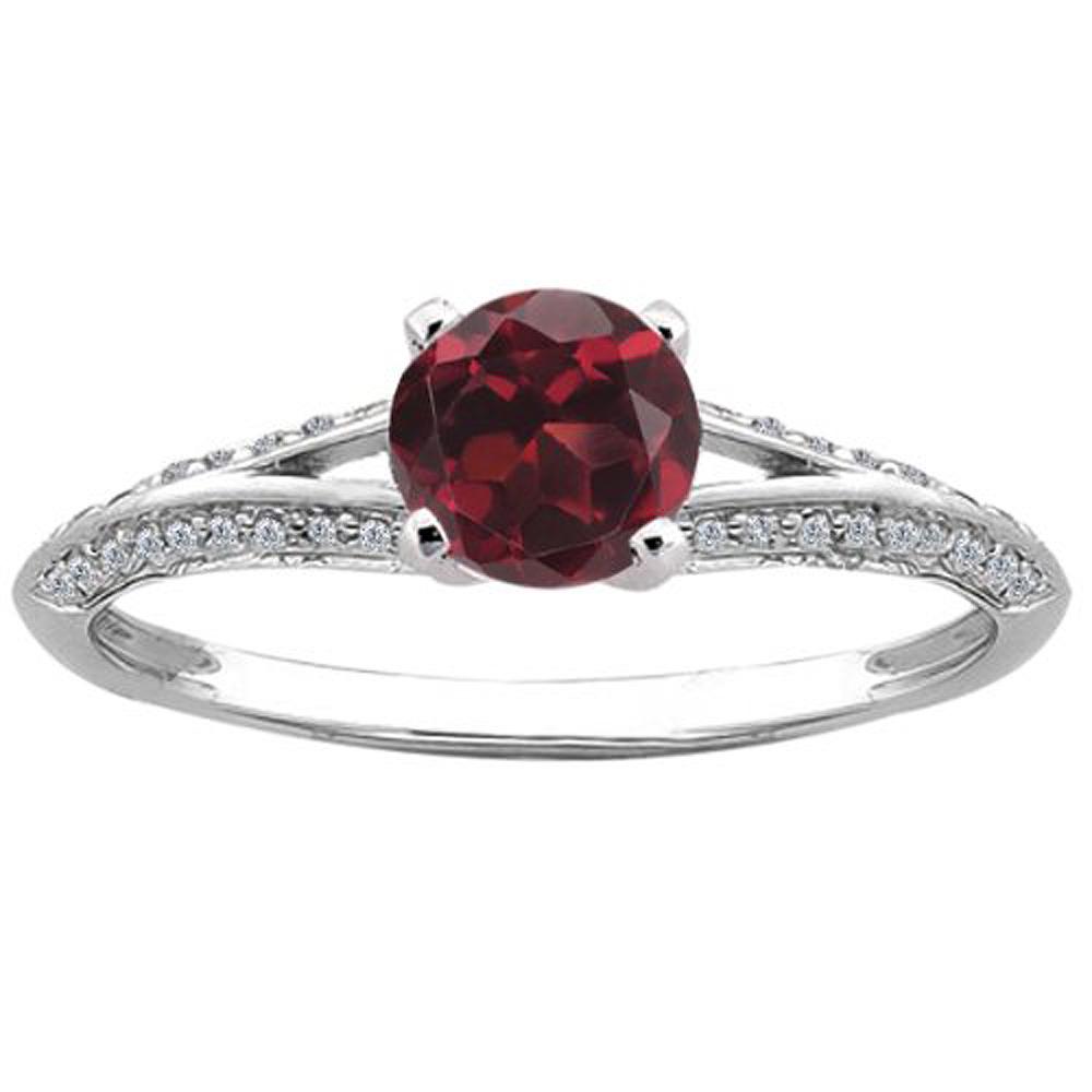 0.85 Ct Round Red Hydro Garnet Diamond 14K White Gold Ring