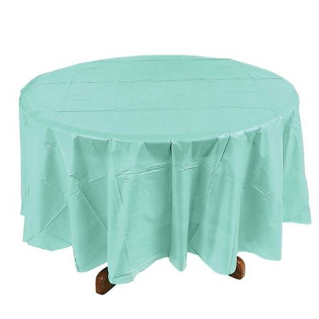 6 Piece Plastic Disposable Tablecloth 84 Inch Round Table Cover (Aqua) - Round Plastic Table Cloths