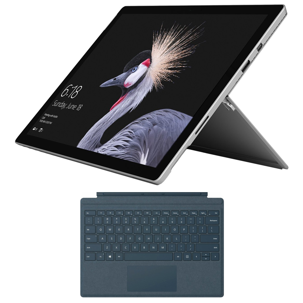 Microsoft Surface Pro (Intel Core i7, 8GB RAM, 256GB) - FJZ-00001 w/ Microsoft Surface SPro M1755 SignaType Cover Blue