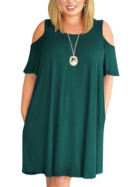 1c3be6cc5ac585 Product Image Cold Shoulder Women Casual Pure Color Loose Plus Size Dress