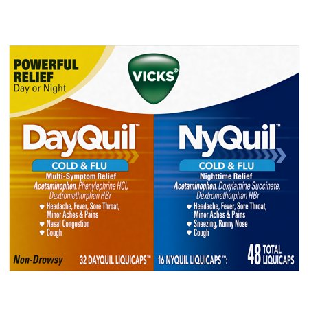 Vicks Dayquil And Nyquil Cold   Flu Relief Liquicaps  48 Ct