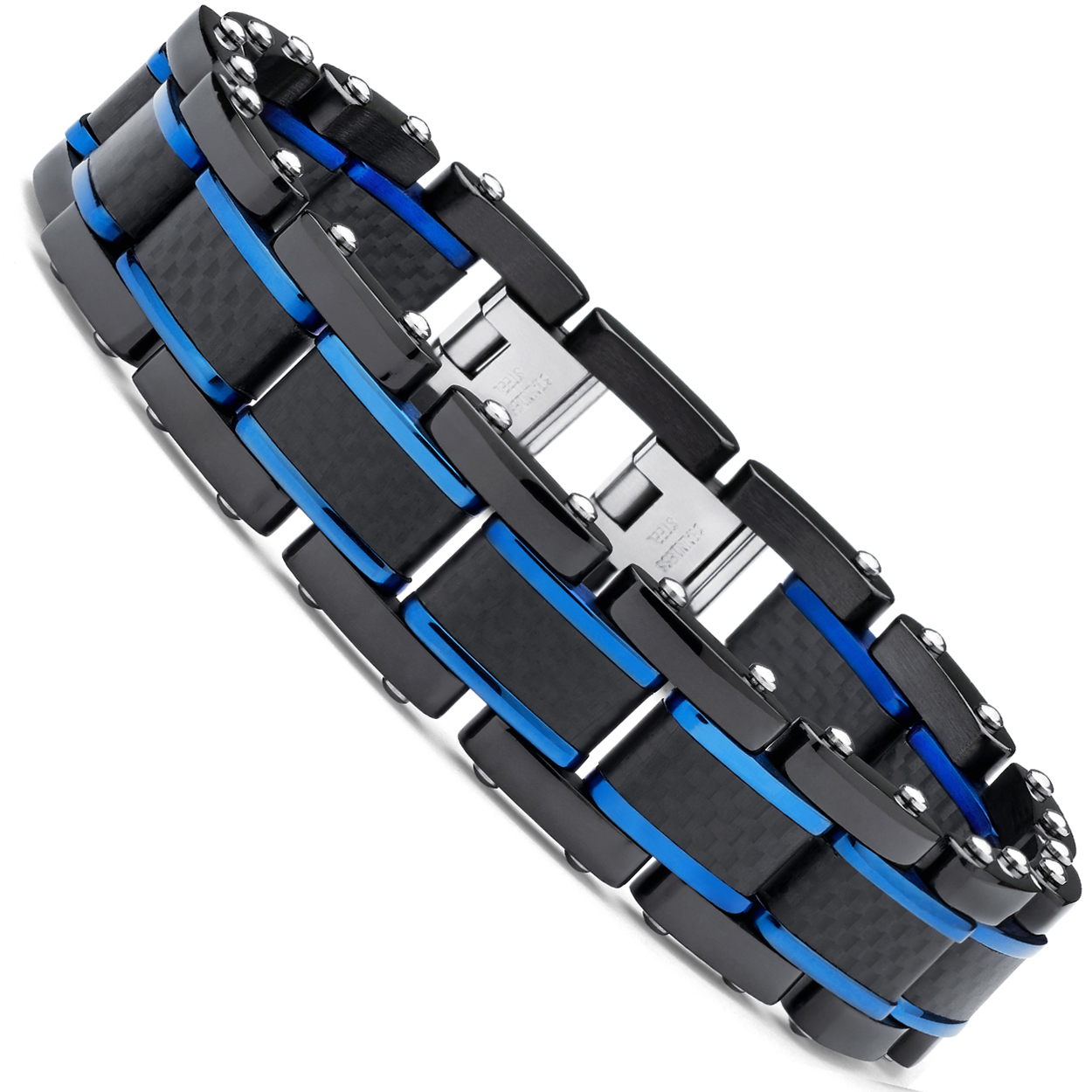 "Men's Black and Blue Stainless Steel Bracelet with Pure Solid Carbon Fiber links 8.25"" Can be sized down"