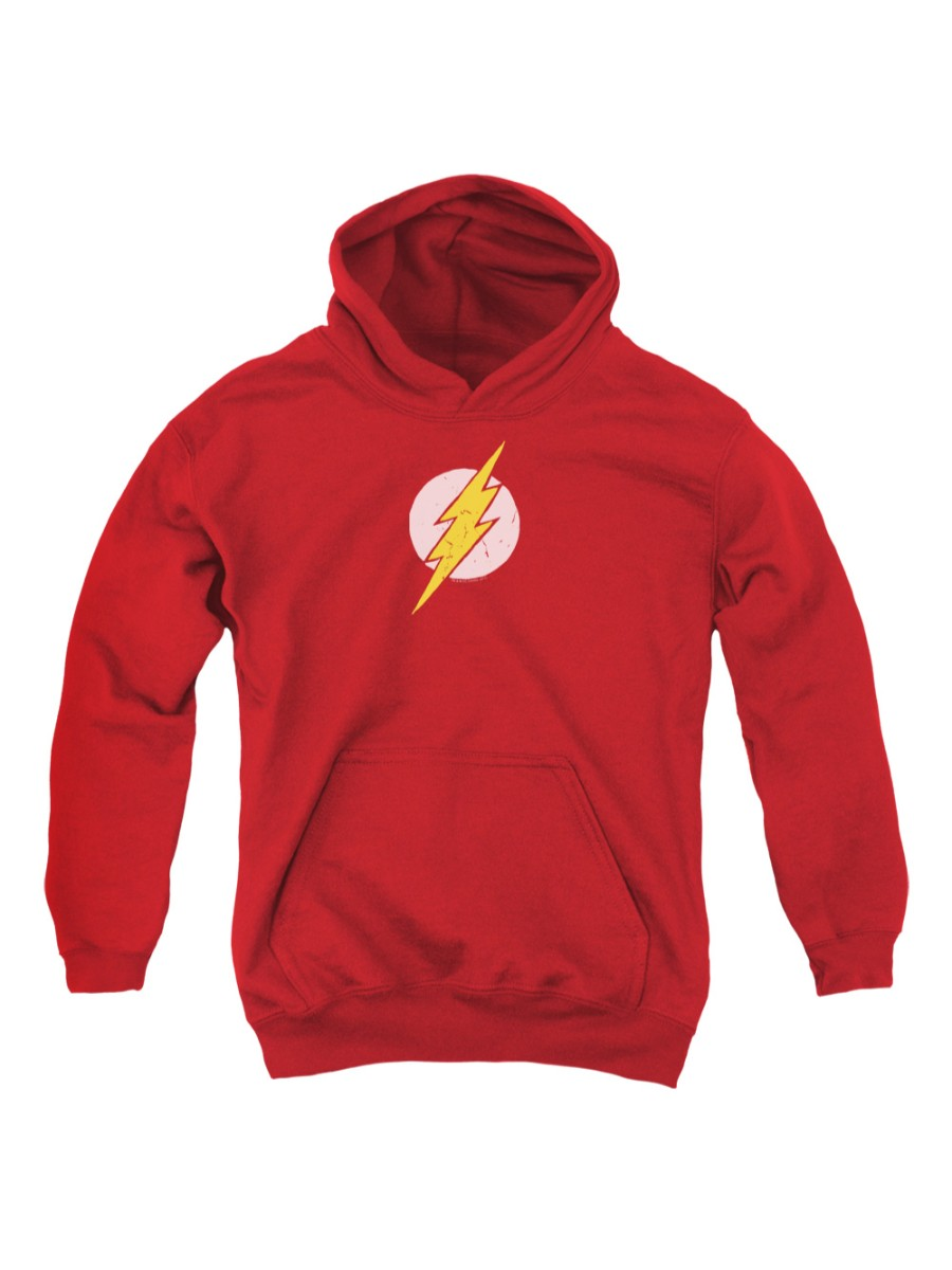 Trevco Jla-Rough Flash Youth Pull-Over Hoodie, Red - Small