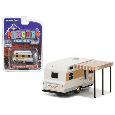 1964 Winnebago Travel Trailer 216 White and Gold 1/64 Diecast Model by Greenlight Gold Diecast Collectibles
