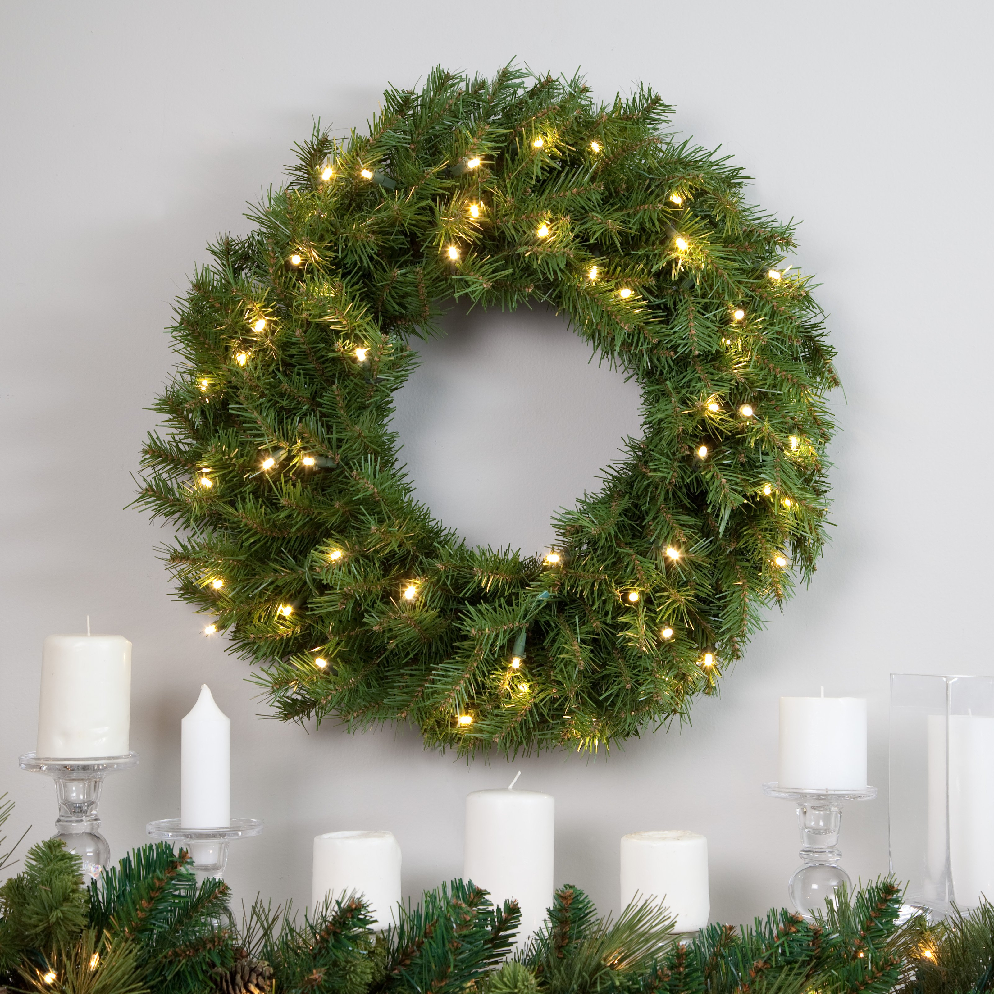 "National Tree 24"" Norwood Fir Wreath with 50 Warm White Battery Operated LED Lights with Timer"