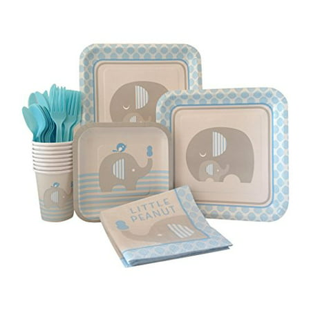 Blue Elephant Boy Baby Shower Supply Pack! Bundle Includes Paper Plates, Napkins, Cups & Silverware for 8 Guests - Boy Baby Shower Plates And Napkins