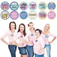 Bachella - Palm Springs Boho Bachelorette Party Funny Name Tags - Party Badges Sticker Set of 12