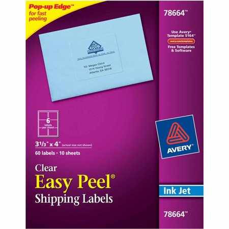 avery clear shipping label 6 up 60ct walmart com