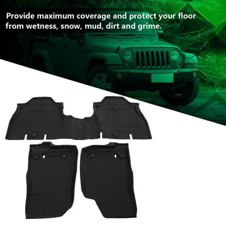 HURRISE 4pcs Car Floor Mats Floor Liner Front&Rear Dust All-weather Slush Mats for Jeep Wrangler JL, Car Floor Carpet, Rear Mat