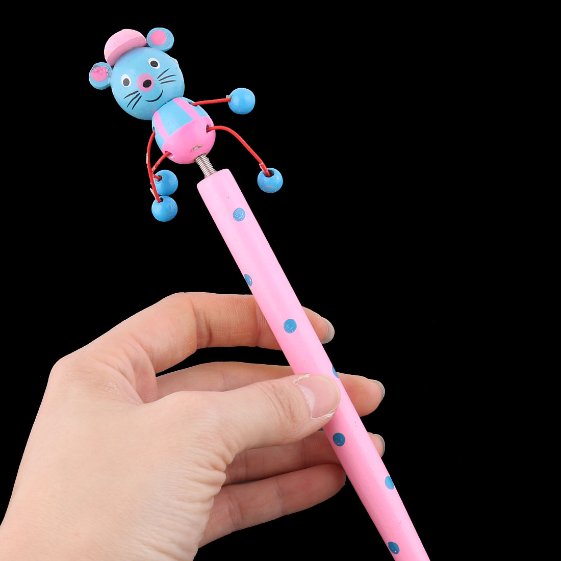 Cartoon Mouse Wooden Ball Point Pen with Spring Pink - image 2 de 3