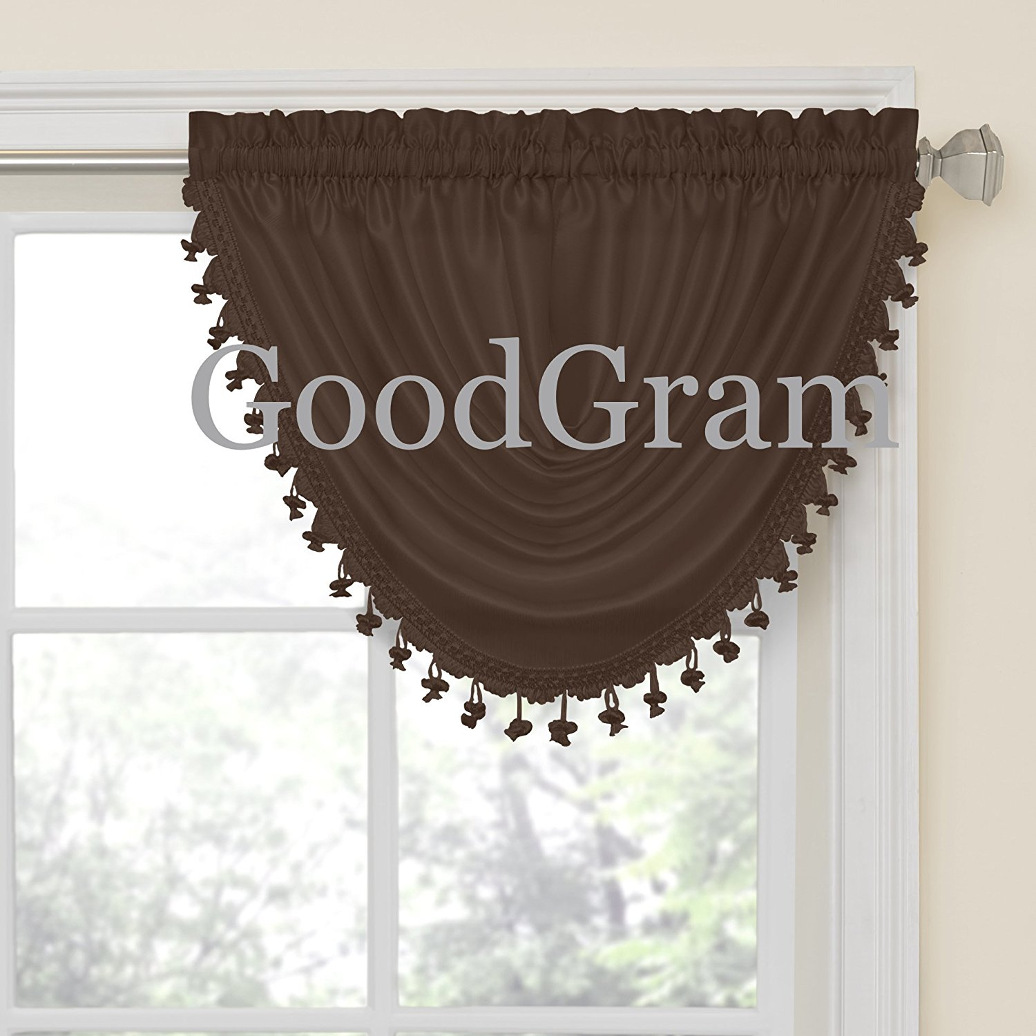 GoodGram Hyatt Ultra Luxurious Faux Silk Window Valance Treatments - Coffee Bean