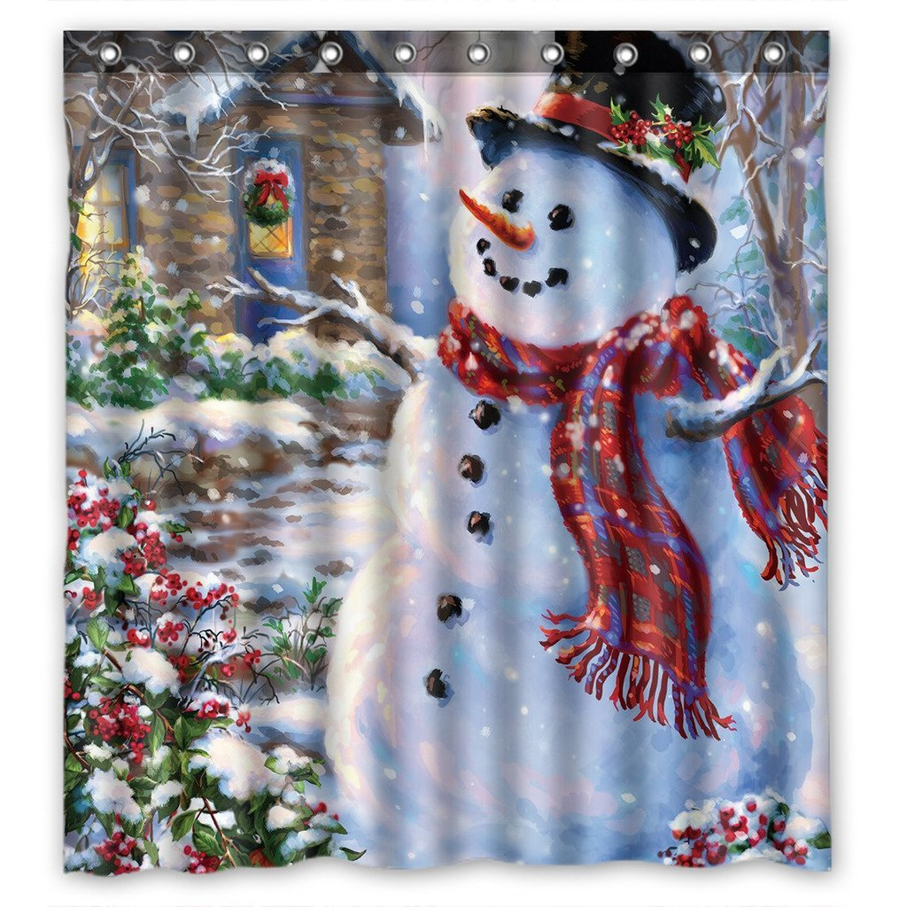 GCKG Christmas Snowman Xmas Santa Claude Waterproof Polyester Shower Curtain  And Hooks Size 66x72 Inches