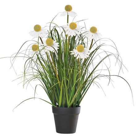 Metal Yard Flowers (Long-Stem Daisy Coneflower Faux Plant with Planter - Spring Décor for Garden, Yard, or)