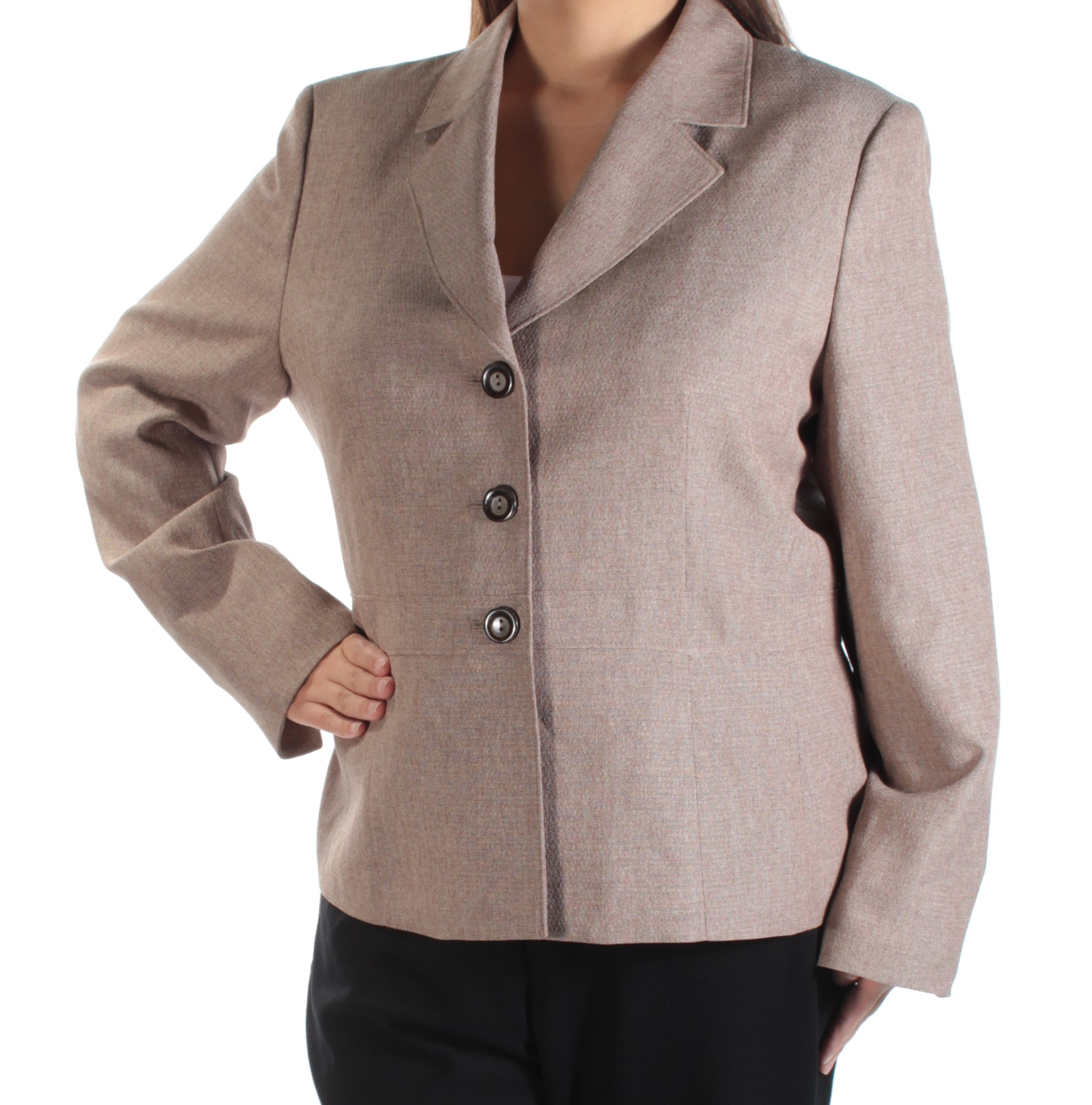 LE SUIT Womens Brown Blazer Wear To Work Jacket  Size: 18