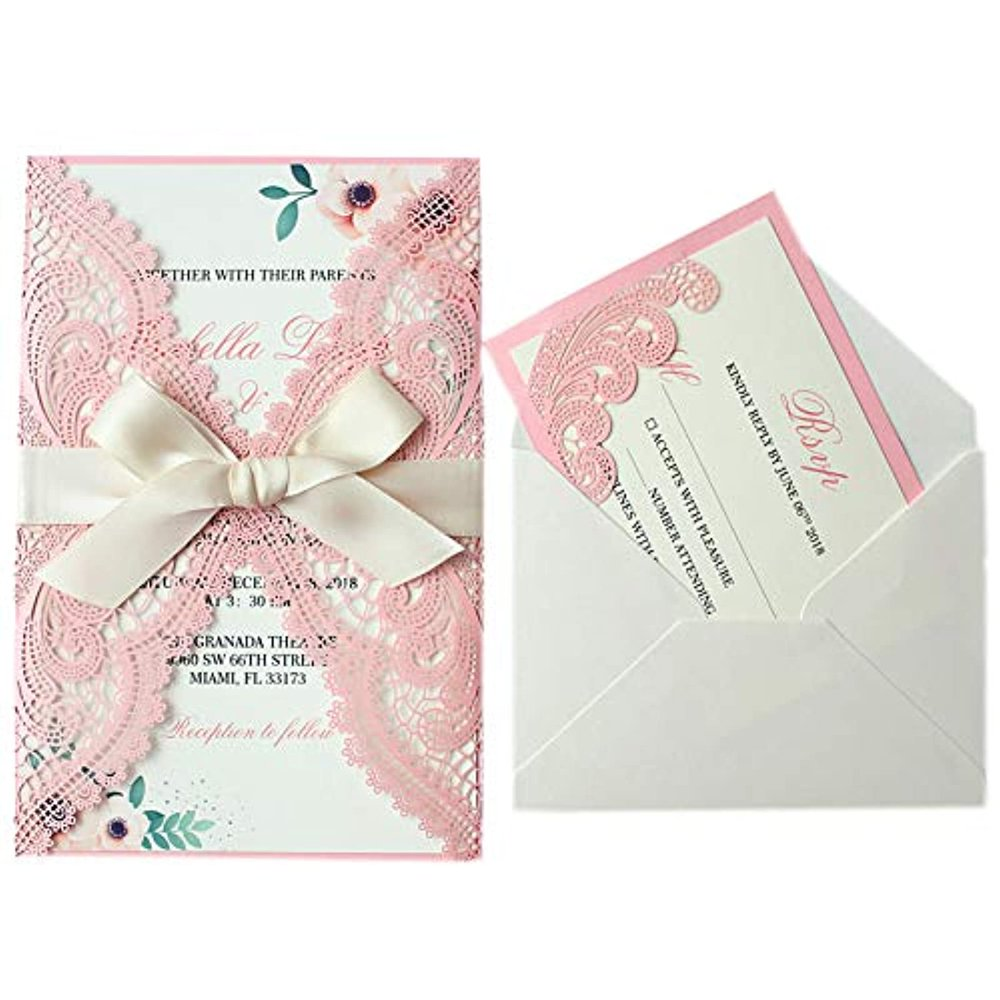 25set blush pink wedding invitations with rsvp cards and