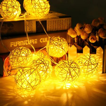 10 Colors GLIME 20 LED Rattan Ball String Light Battery Home Garden Fairy Wedding Party Decor](Led Light Pins)