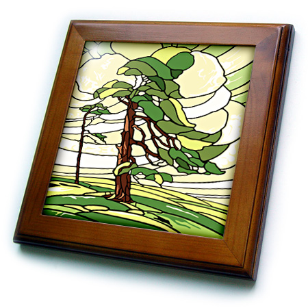 3dRose Green and Yellow Stained Glass Pine Tree Design - Framed Tile, 6 by 6-inch