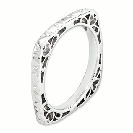 Sterling Silver Stackable Expressions Polished Rhodium-plate Square Ring Size 7 - image 2 of 3