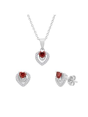 Sterling Silver Heart Halo Earrings and Pendant Set with Simulated Birthstone & CZ for Girls, 16'' (January)