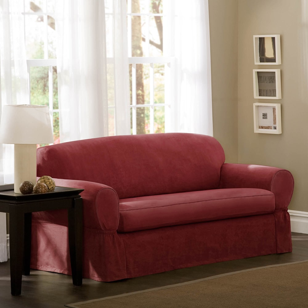 Maytex  Piped Suede 2-piece Sofa Slipcover 4001111-s