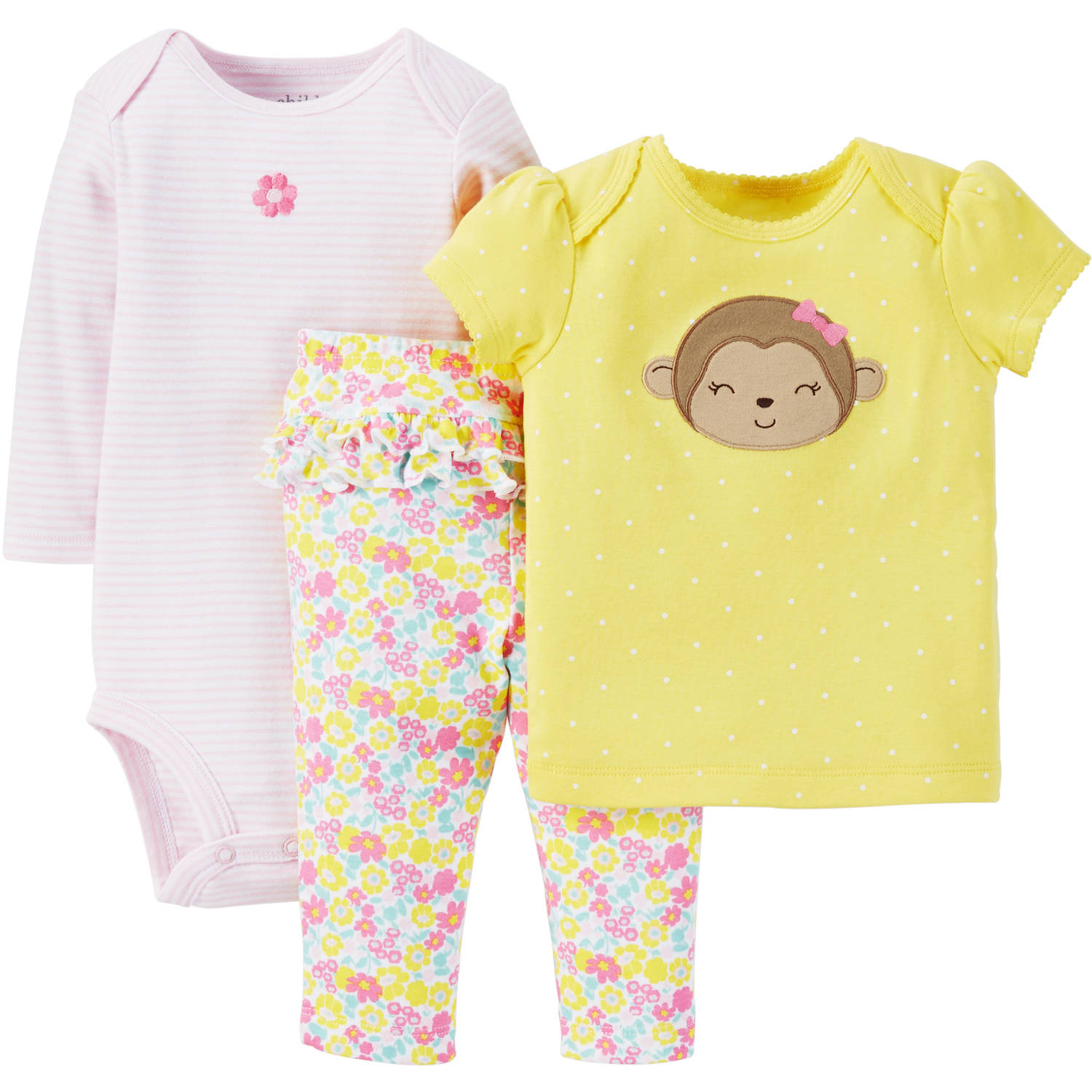 Child Of Mine By Carter's Newborn Baby Girl T Shirt, Bodysuit & Pant Outfit Set 3 Pcs