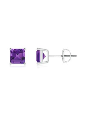 9f8ba3c3d Product Image Mother's Day Jewelry Sale - Classic Basket-Set Square  Amethyst Stud Earrings in 14K White