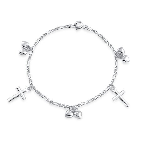 Christian Religious Multi Dangling Cross Hearts Charm Bracelet For Teen For Women 925 Sterling