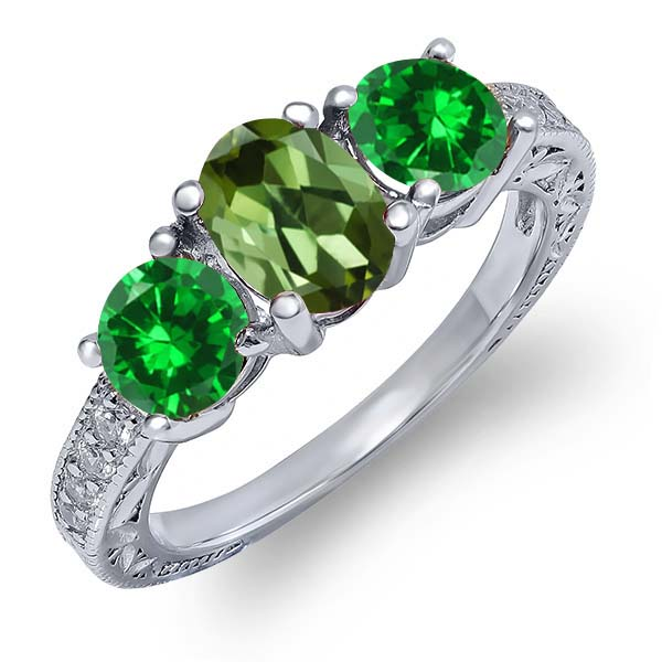 2.50 Ct Oval Green Tourmaline Green Simulated Emerald 18K White Gold Ring by