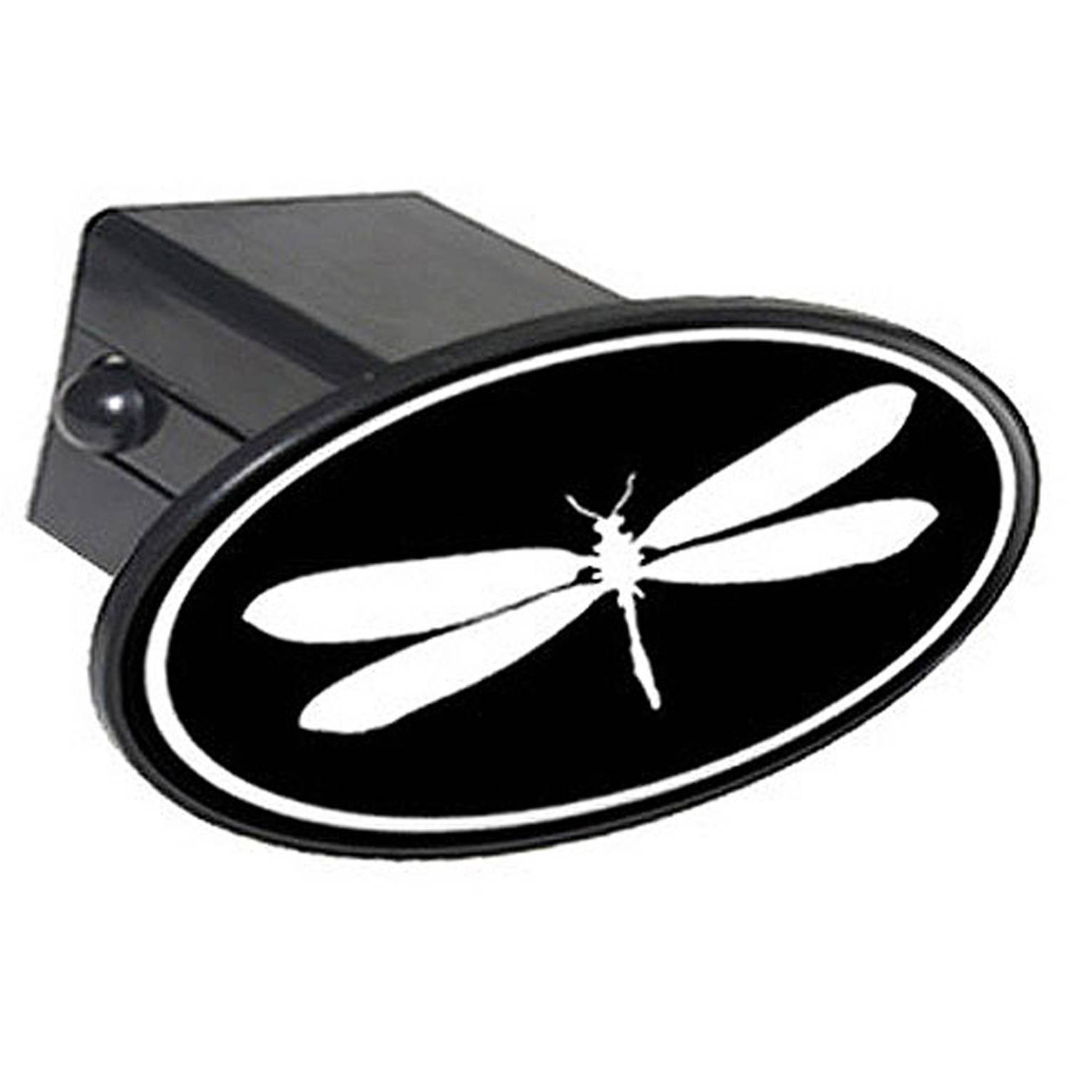 "Dragonfly White On Black 2"" Oval Tow Trailer Hitch Cover Plug Insert"