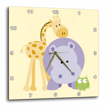 3dRose Giraffe, Hippo and Owl yellow. Kids room decoration, Wall Clock, 10 by 10-inch