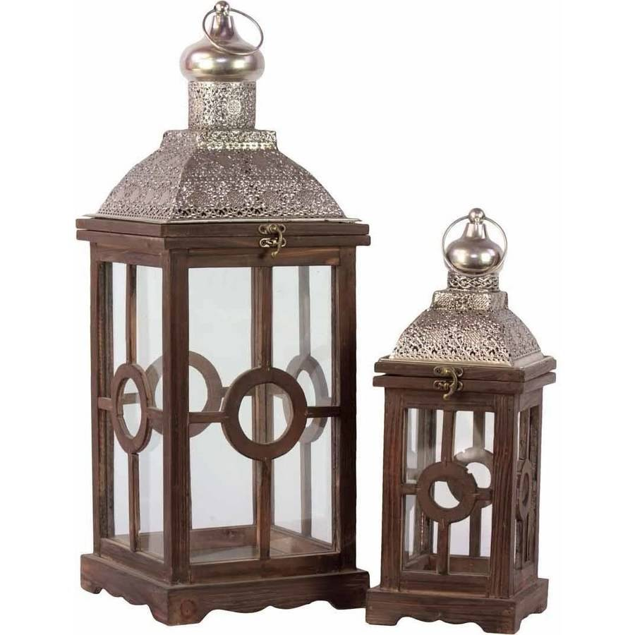 Urban Trends Collection: Wood Lantern, Weathered Wood Finish, Silver, Brown