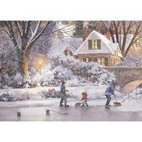 Curiosities Greeting Cards Shoveling Ice D.R. Laird Hockey Christmas Card