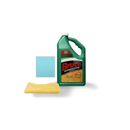 Bruce 64 fl. oz. Hardwood and Laminate Floor Cleaner Refill with One Microfiber Cleaning Cloth and One Sponge Cloth | (Best Way To Clean Bruce Hardwood Floors)