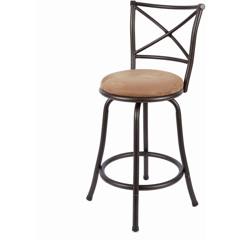"Kitchen Bar Stools Walmart: Mainstays 24"" Swivel X-Back Hammered Bronze Barstool"