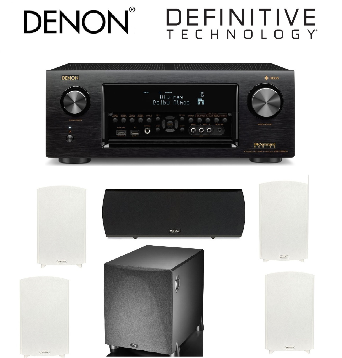 Denon Receiver Audio & Video Component Receiver,Black (AVRX4300H) + 2 Pairs of Definitive Technology ProMonitor 1000... by Denon