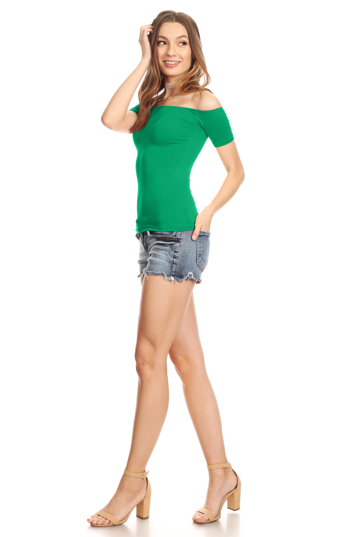 08b39c9e139e1 Simlu - Simlu Short Sleeve Slim Fit off Shoulder Top for Women - Made in USA  - Walmart.com