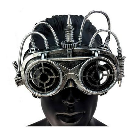 KBW Adult Unisex Steampunk Silver Goggle Mask, Vintage Victorian Style Retro Punk Rustic Gothic Motorcycle Pilot Aviator Eyewear Headgear Costume Accessories Novelty Costume Accessories](Costume Eyewear)
