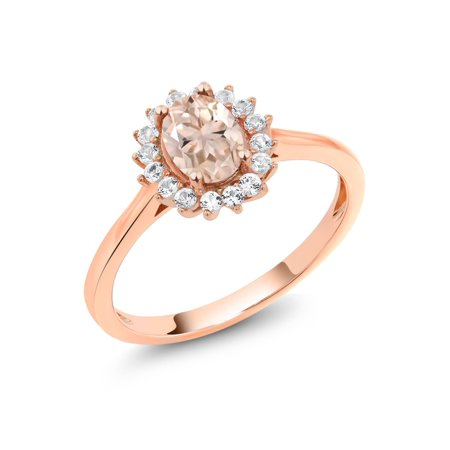 0.89 Ct Oval Peach Morganite White Created Sapphire 10K Rose Gold Ring ()