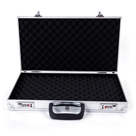 Ktaxon Aluminum Hard Lock Pistol Gun Case Foam Padded Handgun Carry Storage Box With 2 Combination Lock Silver (Handgun Conceal Carry Case)