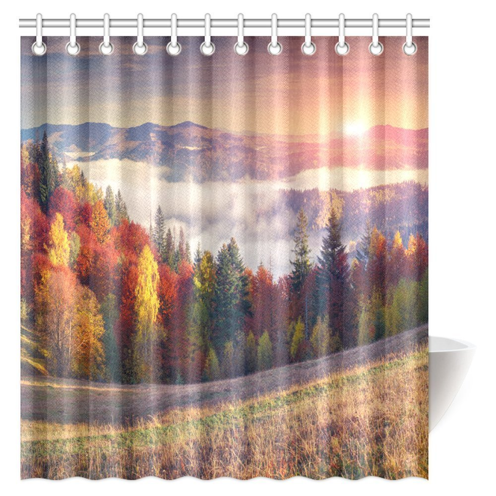 GCKG Landscape Shower Curtain Sunrise With Stunning Sky Colors In Autumn Falls At South Western Village Scenery Bathroom Set Hooks 66x72 Inches