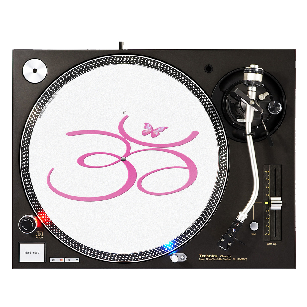 "KuzmarK™ 12"" DJ Turntable Slipmat - Om Pink Butterfly"