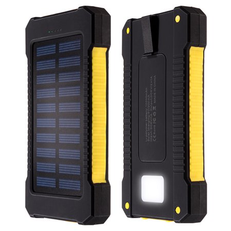10000Mah Solar Charger Dual Usb Power Bank W Flashlight Compass Black Yellow